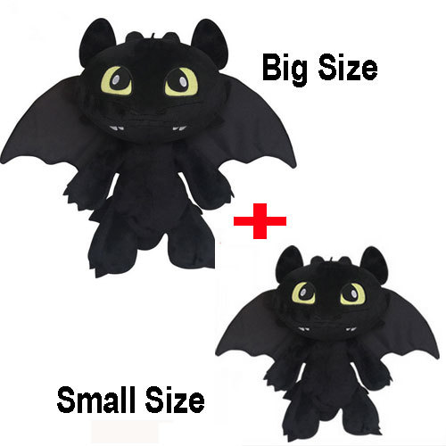 "2 PCS/Set Baby Toy How To Train Your Dragon 2 Toothless Dragon Night Fury Stuffed Plush Toy Anime Movie Animal Dolls 12"" 7""(China (Mainland))"