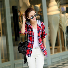 2015 Autumn Long Sleeve hooded Shirt Women's Plaid College Wind Shirt Coat Streetwear(China (Mainland))