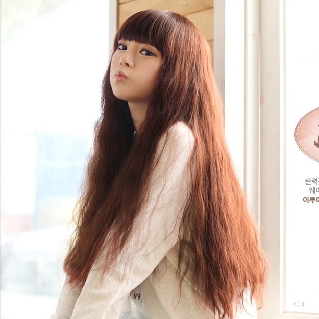 Women's ultra long wig girls wig bangs long curly hair qi