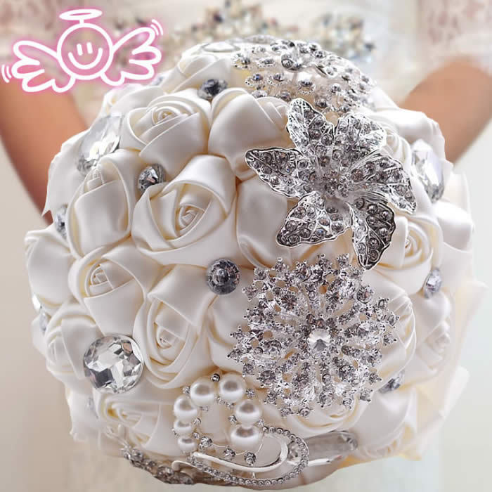 Elegant Customized Bridal Wedding Bouquet With Pearl Beaded Brooch And Silk Roses,Romantic Wedding Colorful Bride 's Bouquet 02(China (Mainland))