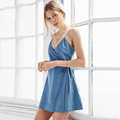 2016 Beach Tunic Hot Sale Summer Sundresses Big Sizes Cool Denim Sundress Brief Style Sleeveless Jean