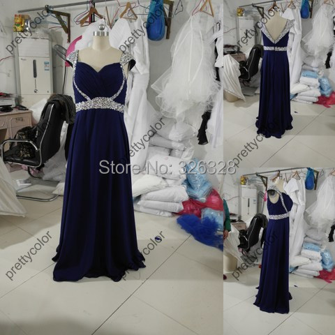 Real Sample Navy Blue Silky Chiffon Formal A Line Long Wedding Party Dress Elegant Cape Sleeved Prom Dress Evening Gown(China (Mainland))