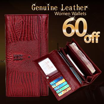 Гарантия натуральная кожа дамы женщин портмона бумажников длинный крокодил бумажник ...