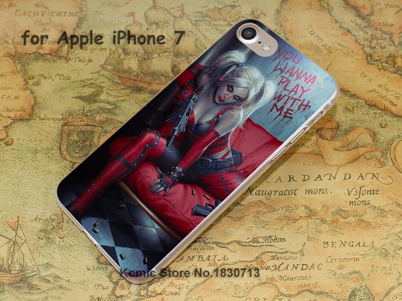 Batman Harley Quinn blood blonde sexy Design hard transparent clear Skin Cover Case for Apple iPhone 7 6 6s Plus SE 5 5s 4 4s 5c