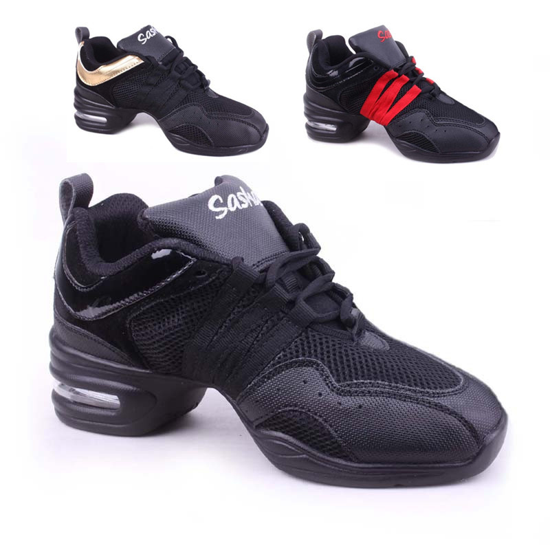 Hot sale in store Brand New Unisex Modern Jazz Hip Hop Dance Sneakers Shoes Pigskin black red gold color free shipping B203(China (Mainland))