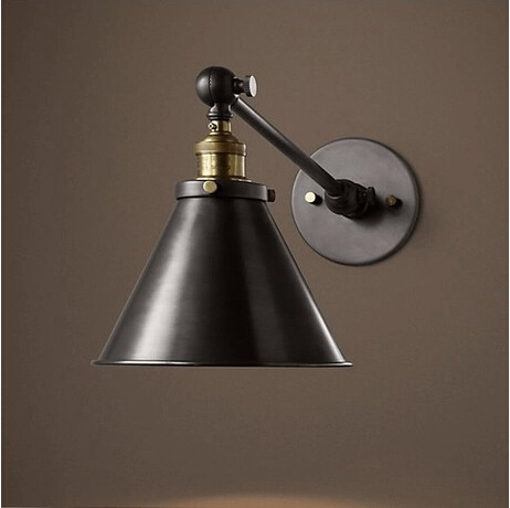 Black Retro Wall Lights : Vintage Industrial Loft Swing Arm Wall Sconce Retro Warehouse Ambient Lighting Black Lampshade ...