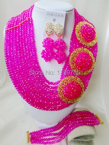 Fashion Nigerian African Wedding Beads Jewelry Set , Fuchsia Crystal Necklace Bracelet Earrings Set A-8620<br><br>Aliexpress
