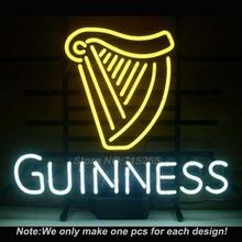 New Guinness Irish Lager Neon Light Sign Real Glass Tube Handcraft Custom LOGO Neon Bulbs Recreation Room Wall Sign VD 17x14(China (Mainland))
