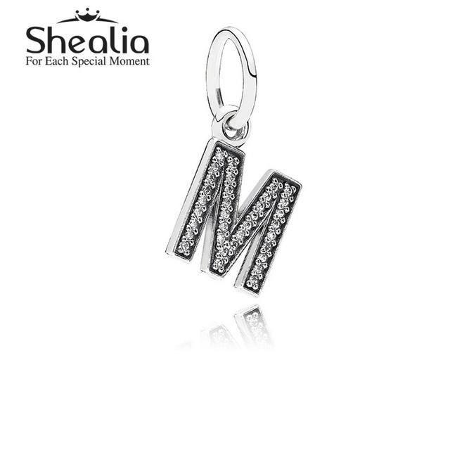 Подлинная стерлингового серебра 925 письмо м мотаться подвески подвеска с четкими CZ для женщин подходит известный бренд DIY браслеты LE13M
