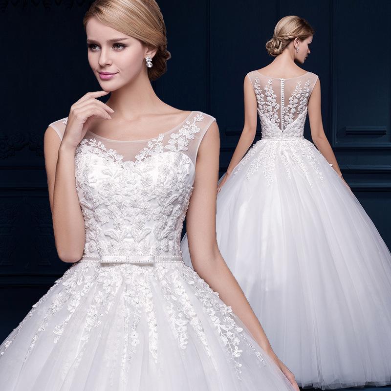 2016 white vintage lace wedding dresses high waist wedding for Fitted wedding dresses for plus size
