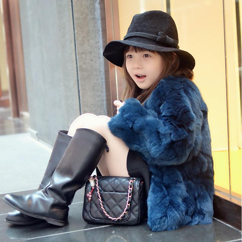 Top quality!Princess coat 2015 Girls Fall Winter Coat Child Thick Plush Fur Kids Really 100% Rabbit Grass