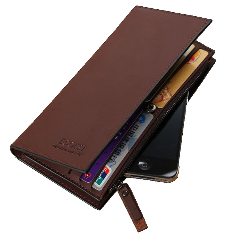 High quality Leather men's Wallets Wholesale leather purse long leather wallets , Free Shipping(China (Mainland))