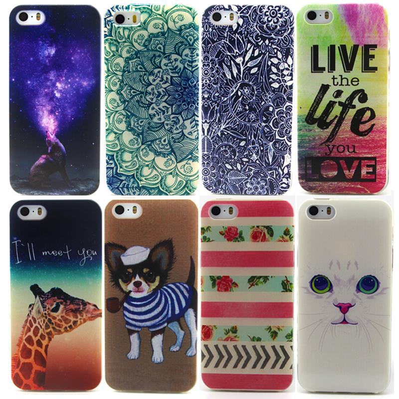 New Cute Cartoon Hookahs Dog White Cat Nest Kitten reading Rainbow deer Large tail fox TPU Silicone Soft Case For iPhone 5 5S 5G(China (Mainland))