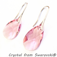 Big Pink Crystal from Swarovski Earrings 18K White Gold Plated Austrian Crystal Pear Shaped Water Drop Dangle Earring For Women