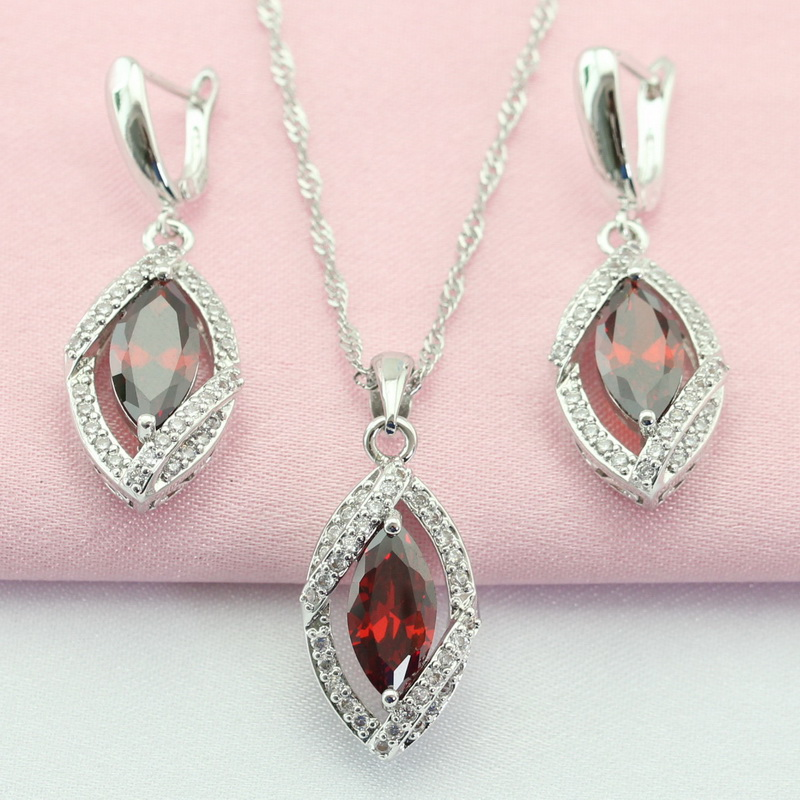 ASHLEY Red Garnet Jewelry Set Sterling Silver Necklace Pendant Hoop Earrings for Women Free Jewelry Box(China (Mainland))