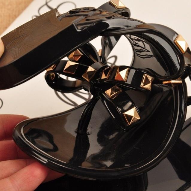 2015 Girls flip-flops summer shoes flat cool beach Rivets big bow sandals jelly women size36/40 - Midsummer Night Star store