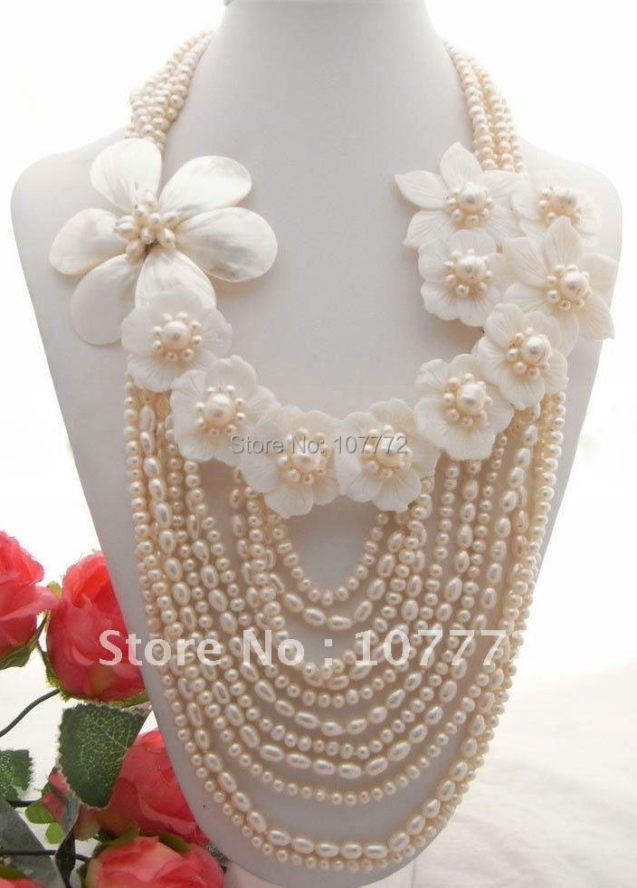 Beautiful! White Pearl&amp;Shell Flower Necklace   free +shippment<br><br>Aliexpress