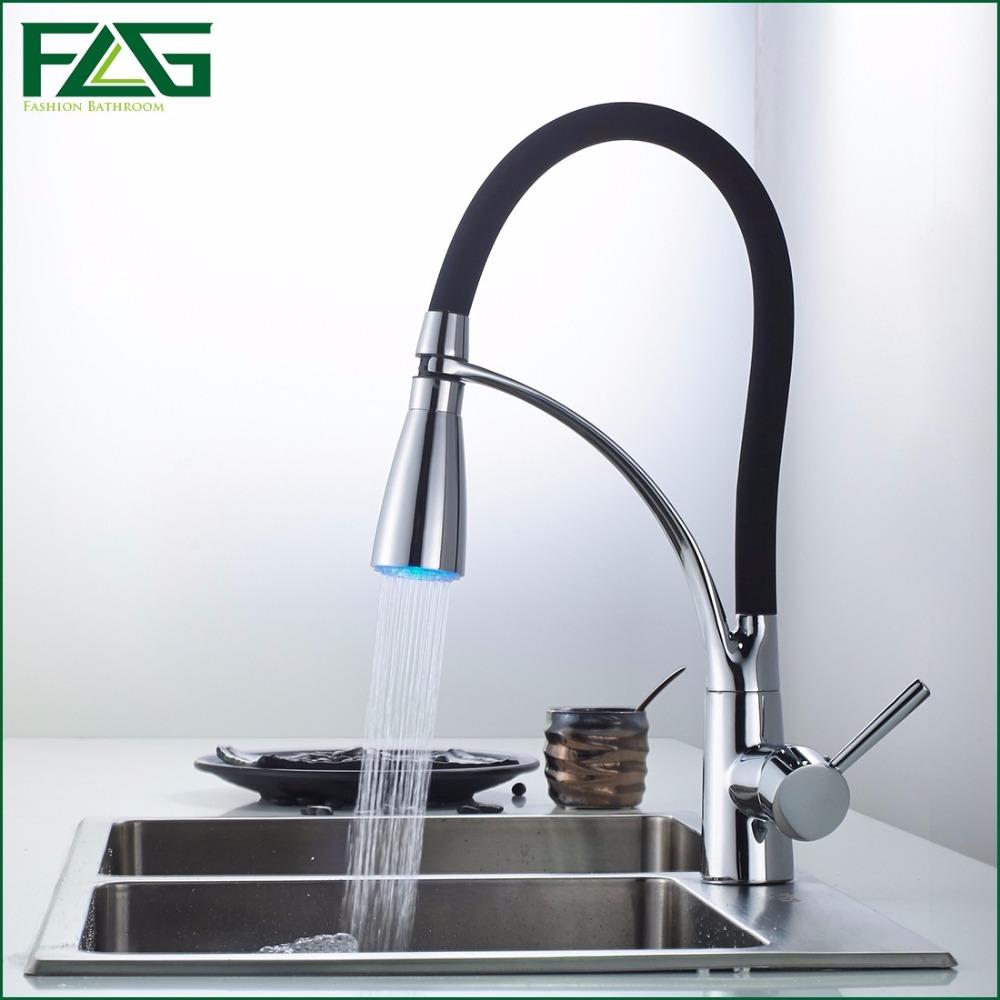 online get cheap kitchen sink faucet sprayer aliexpress com flg black and chrome finish kitchen sink faucet deck mount pull out dual sprayer nozzle hot