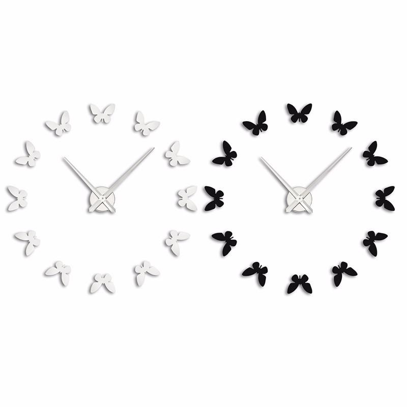 Silver Black Acrylic Modern 3D Acrylic Silver Black Butterflies Wall Clock Watches Hours DIY Home Art(China (Mainland))