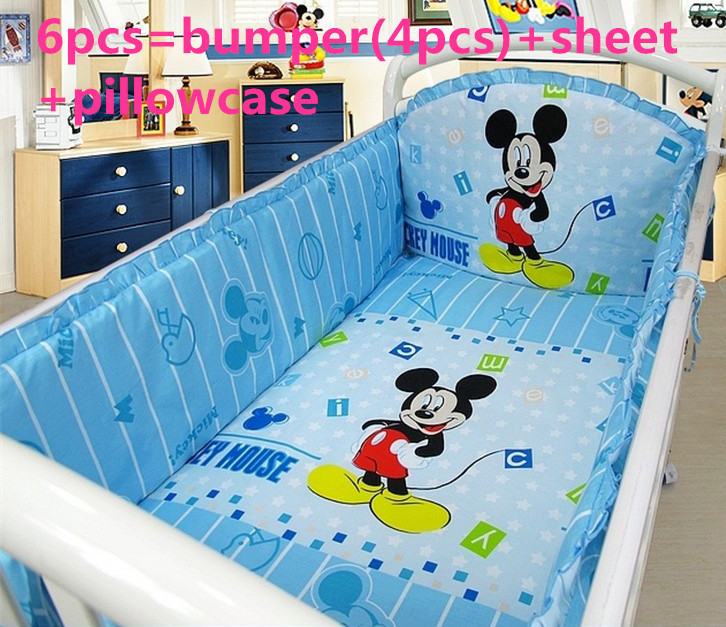Promotion! 6PCS Mickey Mouse bedding baby cradle crib bedding baby comforter crib set ,include(bumpers+sheet+pillow cover)<br><br>Aliexpress
