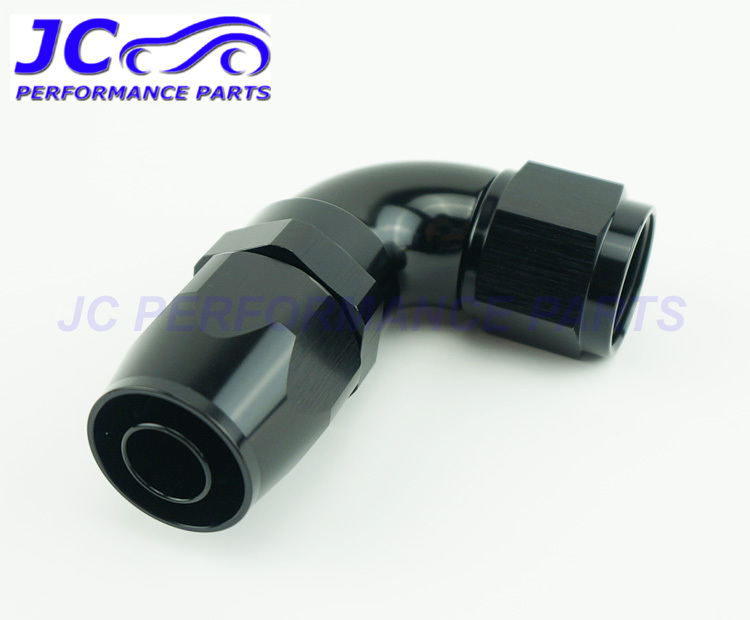 JC Performance Parts - AN10 -10 AN 90degree full flow one piece oil cooler fitting hose end adapter swivel type black