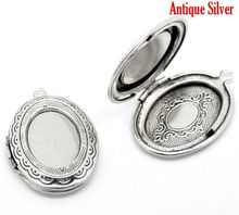 DoreenBeads Retail Antique Silver Oval Photo Frame Locket Pendants 34x24mm,sold per pack of 5(China (Mainland))