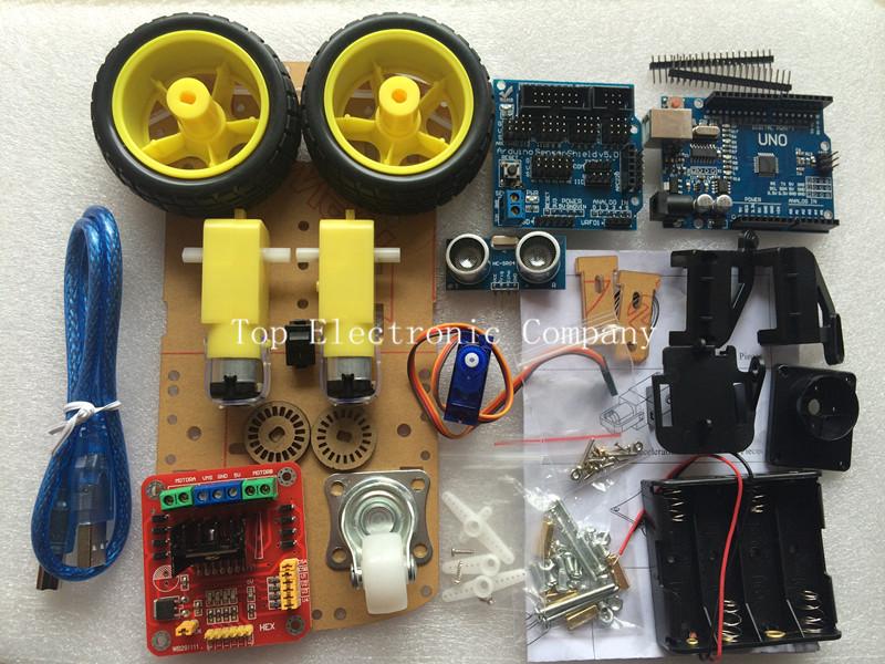 New Avoidance tracking Motor Smart Robot Car Chassis Kit Speed Encoder Battery Box 2WD Ultrasonic module For Arduino kit(China (Mainland))