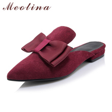 Buy Meotina Mules Shoes Women Sandals Spring Summer Pointed Toe Flat Slippers Ladies Flat Shoes Wine Red Black Large Size 9 40 41 for $27.99 in AliExpress store