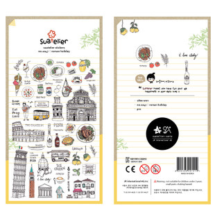 Roma holiday about Italia famous view----Pisa tower,ice cream,the closseum---- PET high quality adhesive scrapbook sticker 1pc(China (Mainland))