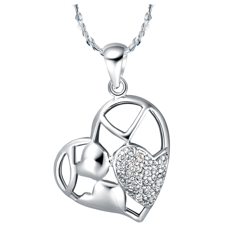 NEW JEWELRY ! 24k white gold plated crystal heart White crystal jewel Pendant roll chain women/girl Fshion necklace KIE080(China (Mainland))
