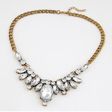 Yazilind Vogue Waterdrop Gold Plated Inlay Clear Crysatl Statement Rhinestone Necklace Free Shipping(China (Mainland))