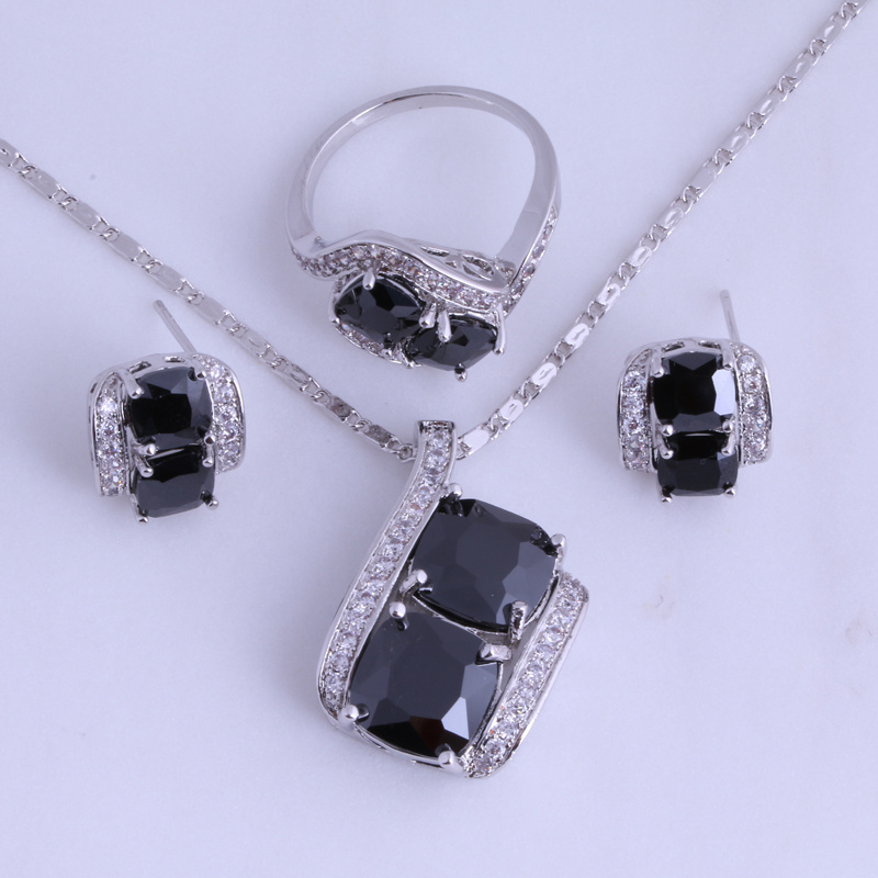 Silver Plated Black Onyx Jewelry Sets for Women Ring Size 6 / 7 / 8 / 9 Free Jewelry Bag H0294(China (Mainland))