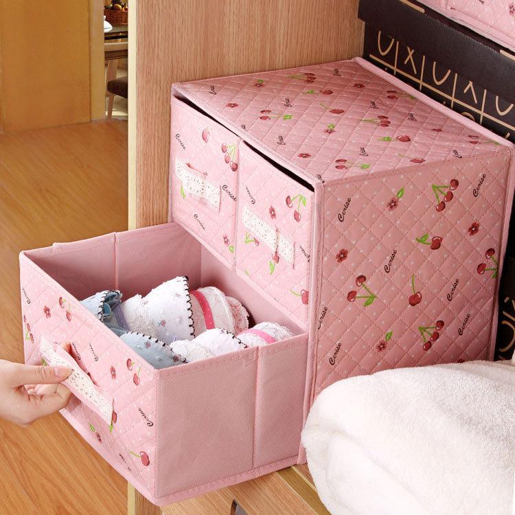 new lace three drawer storage bag foldable box home organizer Box bins bra underwear necktie socks storage box organizer bags(China (Mainland))