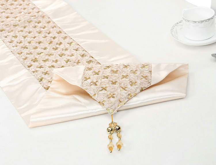 Sequin Table Runner Chinese Silk Wedding Decoration Satin Elegant Table Runner For Wedding Party Embroidered Table Runners(China (Mainland))