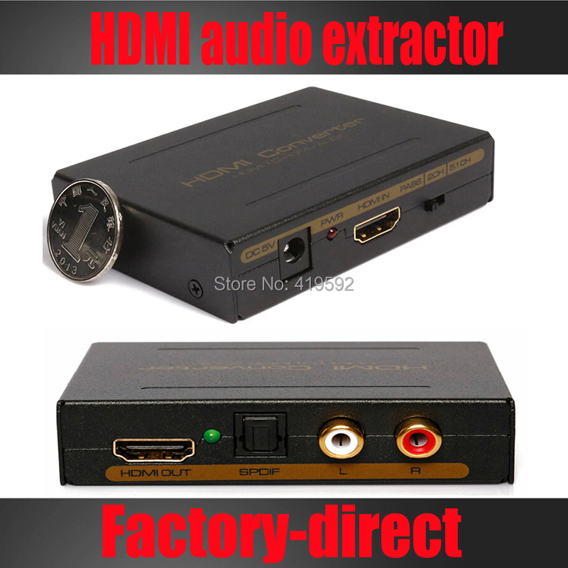 Free shipping 1PCS HDMI audio extractor splitter SPDIF+stereo audio out supports full HD1080p with power supply(China (Mainland))
