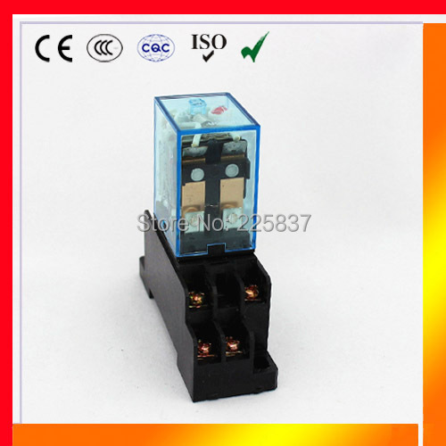 LY2 relay (5Pcs) LY2NJ JQX-13F high quality 12v 24v dc 220v ac 10a electronic micro mini relays w/ with socket base holder(China (Mainland))