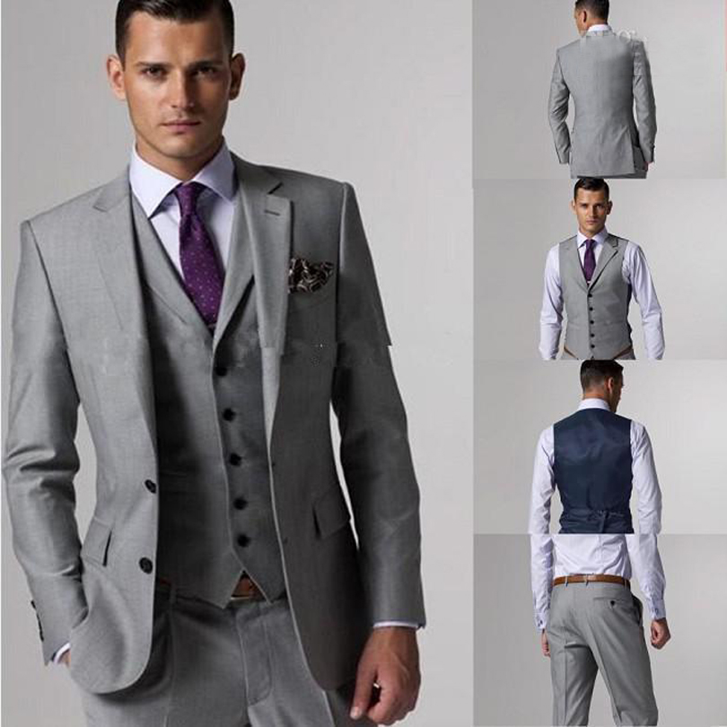 2017 100 High Quality Groom Tuxedos Side Slit Light Grey Groomsmen Men Wedding Tuxedo Prom