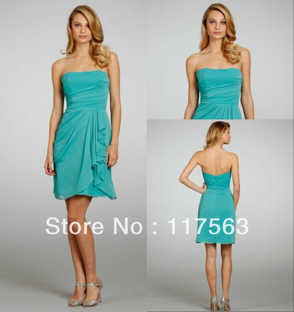 Aqua color bridesmaid dresses price aqua color bridesmaid dresses free shipping cost new arrival strapless empire chiffon beach bridesmaid dress ombrellifo Gallery