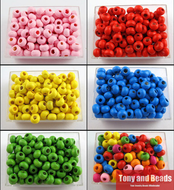 Natural Wood Dye Wooden Round Spacer Beads 5 6MM Pick Size Color Jewelry Making DIY WB1 - Tony and store