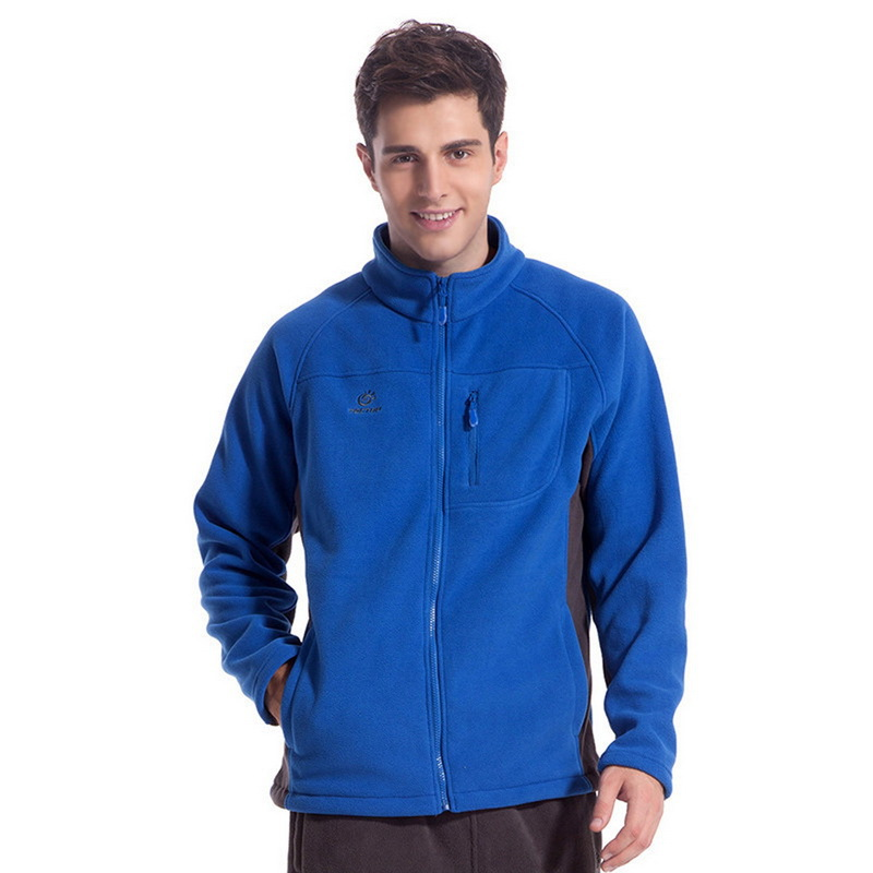 Free Shipping Alralel Men Stand Collar Fleece Thicken Outdoor Sportswear Zippered Tops Jacket 03e7-blue(China (Mainland))