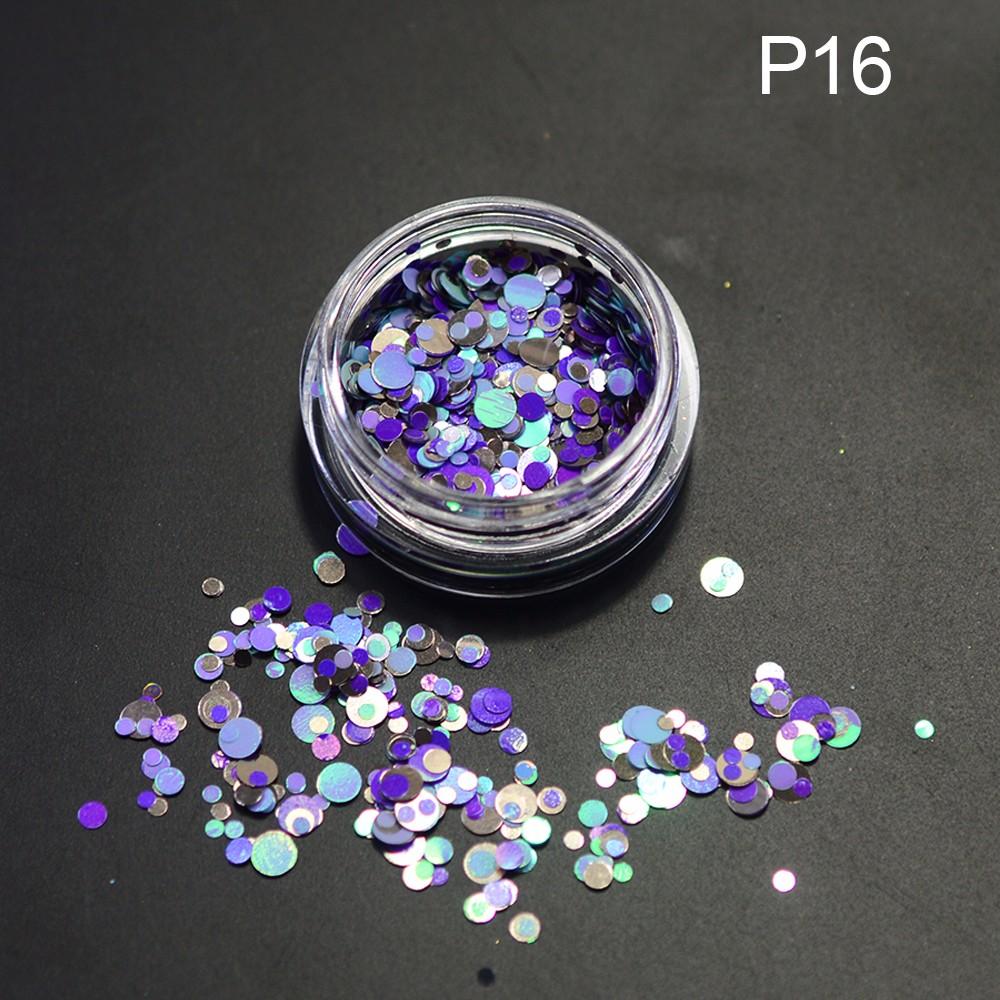 1g NEW Multicolo Mini Round Shape Nail Glitter Powder Dust 3D Nail Art Decorations Nail  Paillette  Stickers DIY Tools P13-24