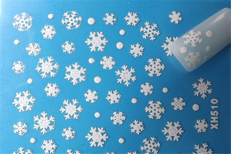 2015 Hot Nail Art 3D Sticker Glitter Decal Snow Flakes Snowflake 10 pcs Christmas Winter New(China (Mainland))
