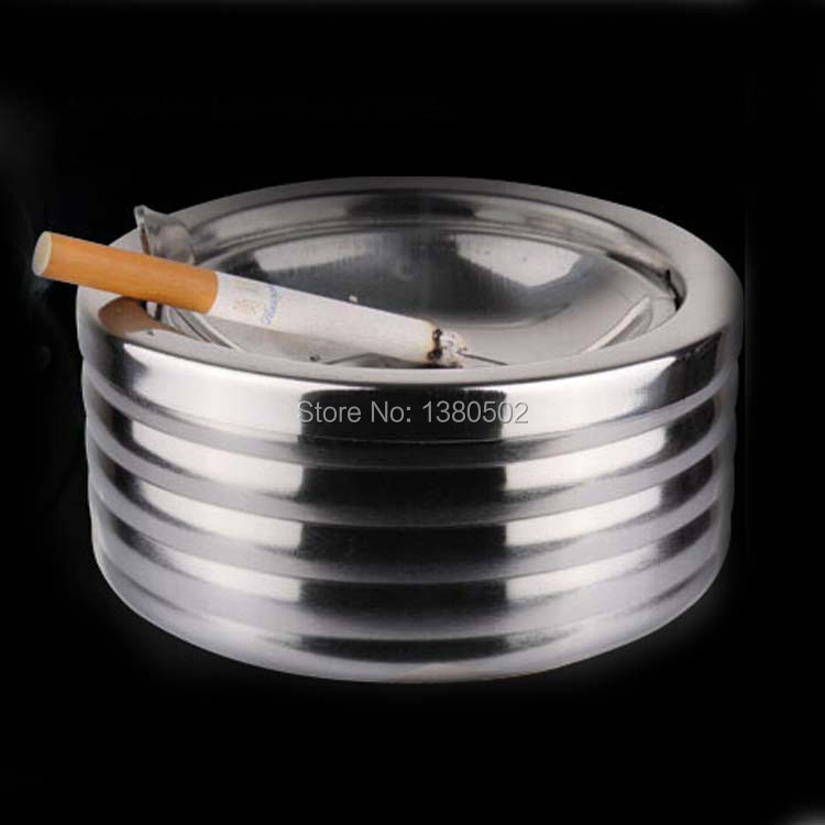 Stainless steel Top Grade Smokeless Ashtray With Lids For Hotel Table Ash Tray(China (Mainland))