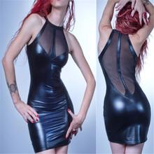 Buy Vocole Sexy Sleeveless Mesh PVC Transparent Clubwear Fetish Erotic Wetlook Costume O-Neck Bodycon Mini Dress Nightclub S-2XL