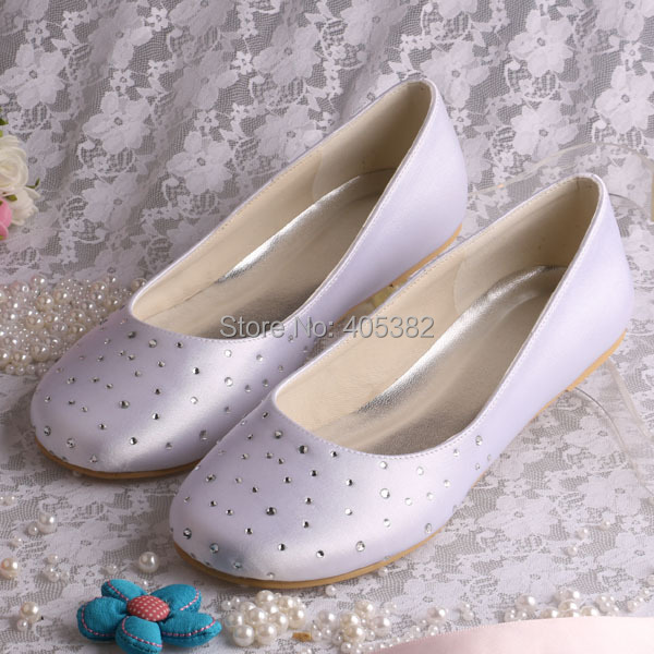 Clearance!!! Free Shipping Extra Wide Width Shoes White Women Bridal Satin Ballet Flats with Rhinestones(China (Mainland))