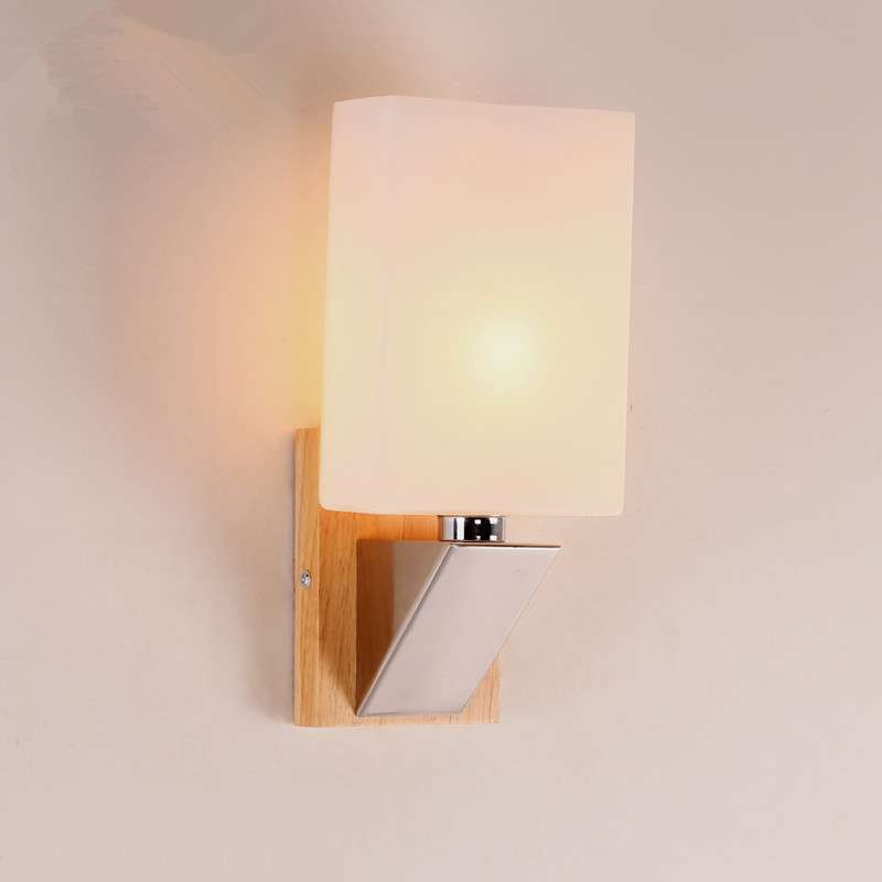 Modern wood wall lamp bedroom bedside wooden glass wall for Wall light fixtures bedroom