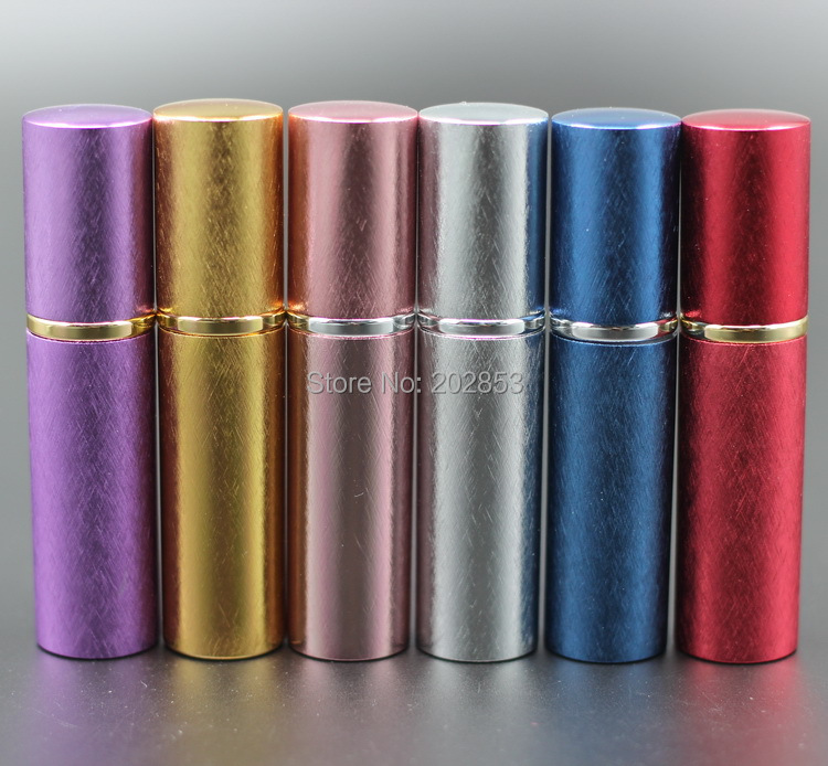 Pump new 5 10ml anodized aluminum glass bottle vial perfume liquid atomizer spray container scent