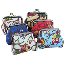 Women's Cute Multi-colors Owl Printed Coin Purse Wallet Canvas Pouch Money Bag