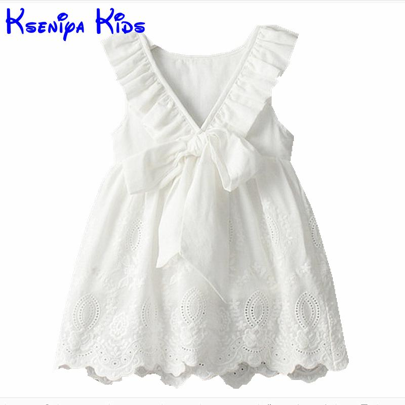 2016 Summer Soft Cotton Baby Girl New Fashion White Clothes Princess Dress Kids Clothes Girls Flower Girl Dresses Baby Designs(China (Mainland))