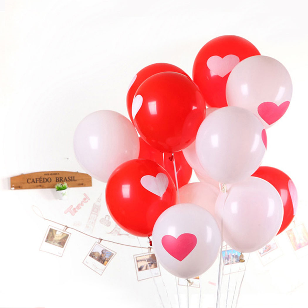 50PCS Lovely Round Heart Ballons Valentines Red Balloons White Heart Latex Ballons Wedding Engagement Propose Marriage Balloons(China (Mainland))